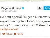 Eugene Mirman's new stand-up special will premiere on Comedy Central December 14th