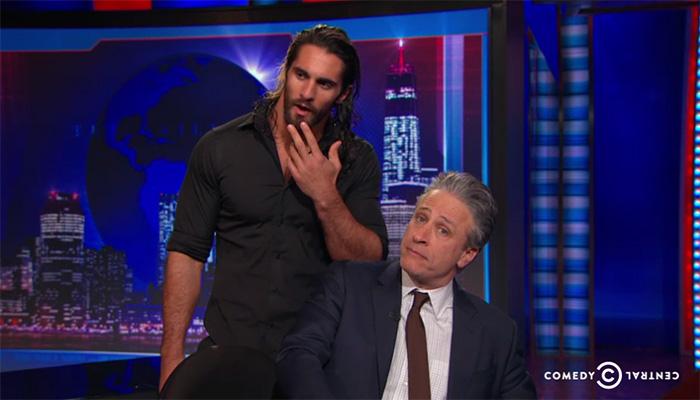 Seth Rollins and Jon Stewart